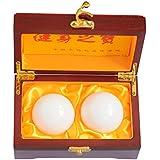 5,1cm Pierre de Jade Naturel Boules de baoding Fitness chinois Santé Stress d'exercice Balles à la main avec boîte cadeau
