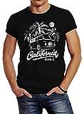 Neverless Herren T-Shirt California Surf Retro Bus Abenteuer Urlaub Palmen Slim Fit schwarz XXL