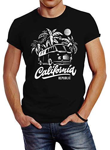 Neverless Herren T-Shirt California Surf Retro Bus Abenteuer Urlaub Palmen Slim Fit schwarz XL - Kult Schwarz T-shirt