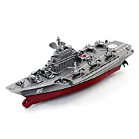 JIANGfu RC Boat Remote Control Challenger Aircraft Carrier RC Boat Warship Battleship