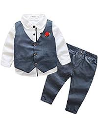 bb486ed0f Niño Conjunto De La Ropa 3 Piezas Camisas Manga Larga + Chaleco + Pantalone