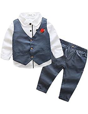 Niño Conjunto De La Ropa 3 Piezas Camisas Manga Larga + Chaleco + Pantalone