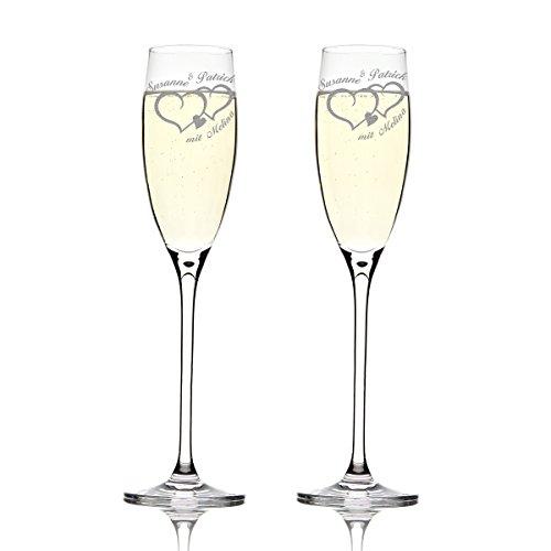 Deux verres de champagne Leonardo cheers avec gravure motif deux cœurs avec petit coeur