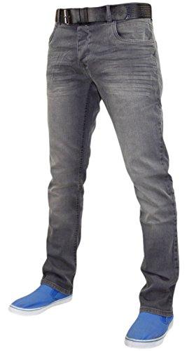 Crosshatch New Mens Designer Straight Fit Stretch Jeans Cotton Denim Free Belt