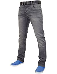 New Mens Designer Crosshatch Straight Fit Stretch Jeans Cotton Denim Free Belt