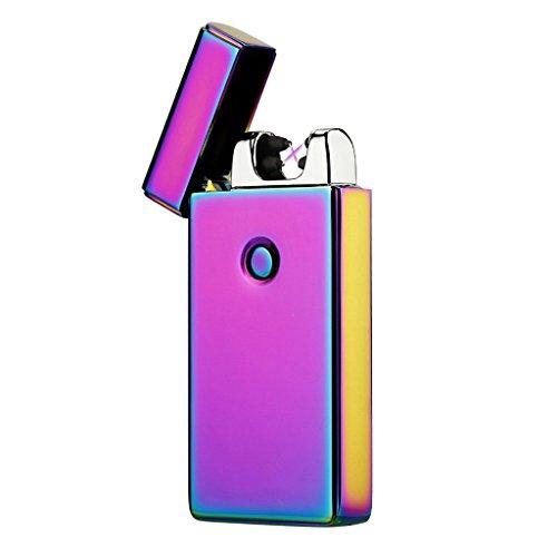 OJESS Feuerzeug,Lichtbogen Feuerzeug Flammenlose winddicht USB Feuerzeug Perfekt f&uumlr zu Hause, Grill, K&uumlche, Herd, Camping Ausfl&uumlge mit Einem Luxus-Geschenkbox (Rainbow-1)