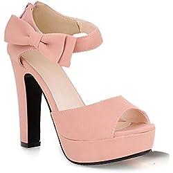 Minetom Damen Sommerschuhe Elegante Pumps High Heels Sandalen Abendschuhe mit Bowknot Pink EU 38