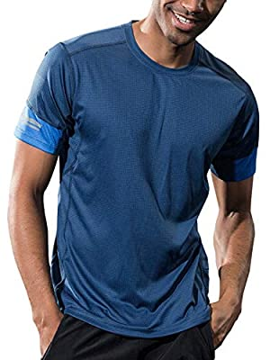 Sillictor Mens Running Tops with Phone Pocket Gym T Shirt Men Sports T-shirt,Light,Breathable,Quick Dry from Sillictor-UK