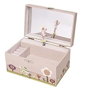 """Trousselier Spieluhr 60609 """" Ninon & Nioui au jardin (rosa) Fee (Spieldose, Musikdose, Spieluhren) das ideale Geschenk zur Geburt, Taufe ....."""