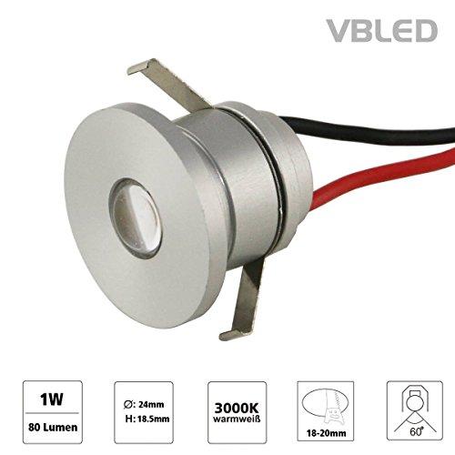 VBLED LED Aluminium Mini Einbaustrahler IP44 wassergeschützt - 1W 350mA 80lm warmweiß (3000 K) (Einbauleuchte einzeln)