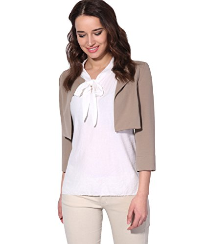 KRISP Women Cropped Jacket Open Shrug 3/4 Bolero Evening Blouse