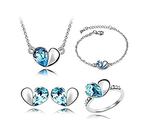 Most Beloved Heart Four-piece suit Girl Women Rhinestone Crystal Necklace