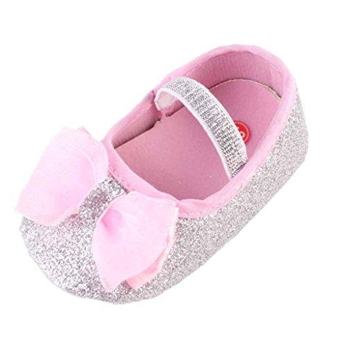 1 Paar Babyschuhe + 1 StüCk Haarband Kleinkind Schuhe Blume Schuhe Sneaker Tanzschuhe Pailletten Rutschfeste Baby Shoes Luckygirls (0 ~ 6Monate, Silber) (Pailletten-blumen-sandalen)