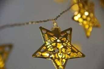 led stern lichterkette 10 metallsterne gold. Black Bedroom Furniture Sets. Home Design Ideas