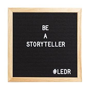 LEDR Letter Board aus Holz und Filz - Schwarz/Natur | Buchstaben Tafel Buchstabenbrett Rillentafel Stecktafel mit 290 weißen Buchstaben und Zahlen - 30 x 30 x 2 cm - Retro Design
