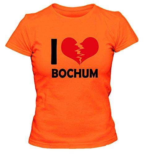 I don\'t love Bochum FUN Damen T-Shirt, Größe:XL;Farbe:orange