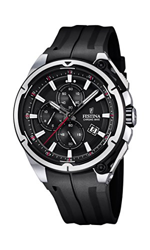 Festina Chrono Bike 2015 Men's Quartz Watch with Black Dial Chronograph Display and Black Rubber Strap F16882/4
