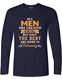 Addmetocart Solid Men's All Men Are Created Equal But Only The Best Are Born In February Full Sleeve Navy T-Shirt