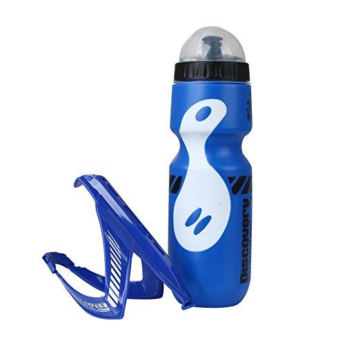 Highplus 750ml Wasser Flasche und Halterung Mountain Sport Bike Fahrrad Outdoor, Weiß/Rot, 250.00 * 75.00 * 65.00mm