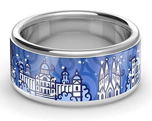 ZEBRA Barcelona Ring Silber (Navy Blue, 56 (17.8)) -