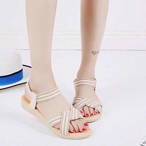 Saingace Frauen Striped Bohemia Freizeit Lady Sandalen Peep-Toe Outdoor Flache Schuhe Beige