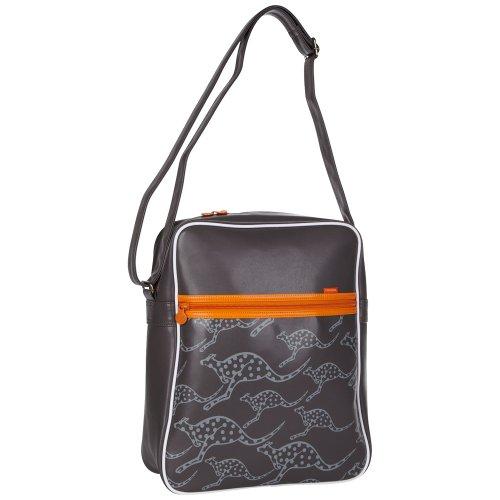 Chiemsee 5040606 Far Umhängetasche, Retro Bag, coole Tasche im Retrodesign, schöne kompakteTasche mit Känguruh Druck, unisex, in verschiedenen Farben erhältlich, 38 x 32 x 12 cm dark gull grey