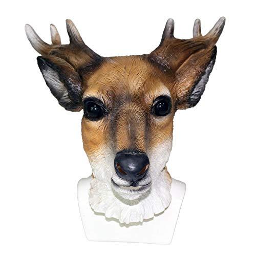 AAWFUL Máscara De Ciervo Animal Látex Traje De Reno De Cabeza Completa Máscara Cuernos Disfraz De Jirafa Accesorios De Cosplay Máscara De Fiesta Tamaño Adulto