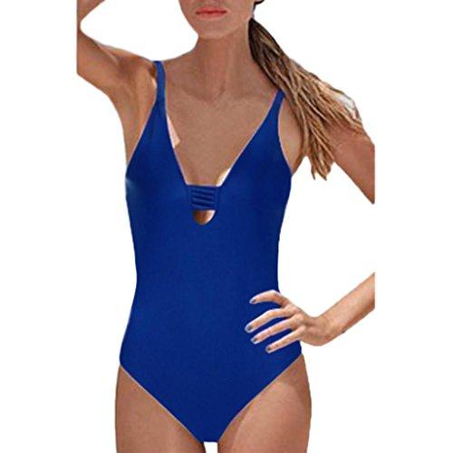 Bikini, Costume da Bagno BYSTE Donna Trikini Costumi da Bagno Costume Intero Push up Bikini Backless Tessitura Sexy Swimsuit One Piece Coordinati Beachwear Blu