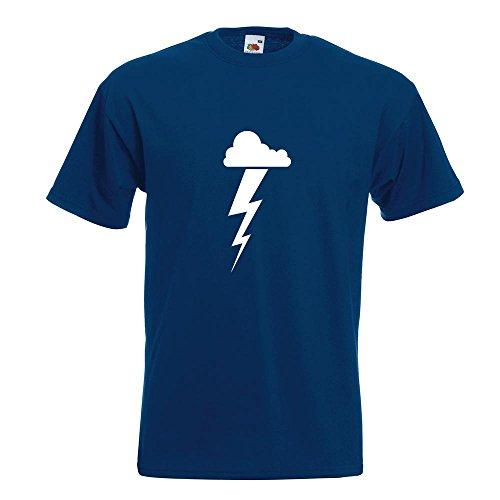 KIWISTAR - Gewitterwolke Blitz T-Shirt in 15 verschiedenen Farben - Herren Funshirt bedruckt Design Sprüche Spruch Motive Oberteil Baumwolle Print Größe S M L XL XXL Navy