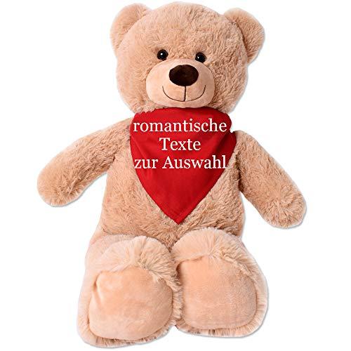TE-Trend XL Plüsch Teddybär Riesen Teddy Kuscheltier Kuschelteddy Bär 80cm braun Plüschbär sitzend mit Tuch