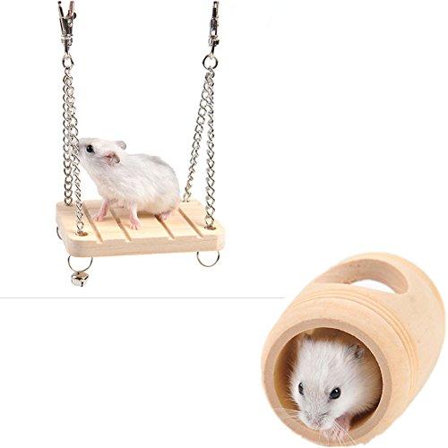 Fully 2x Holzschaukel mit Glocke Papagei Vogel Hamster Ratte Sitzstange Käfig Hängematte Spielzeug Hängende 7x9x1cm