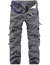 Vintage Homme Style Militaire Cargo Sports De Combat Casual Pantalon Multi Poches
