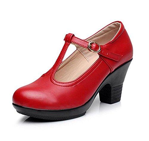 Scarpe da donna Danza in vera pelle piattaforma Chunky Block Pompe latine moderne Taglia 36To40 Red