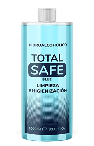 Total Safe 1000ml Blue | Ideal para una higiene profunda de manos - Hidroalcoholico | Antiséptico 1 Litro para desinfectar cualquier superfice
