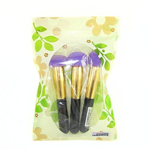 Dolovemk 3 pcs Maquillage éponge Fond de teint sans latex Houppette Applicateur blender, 50 g Longueur : environ 13.5 cm