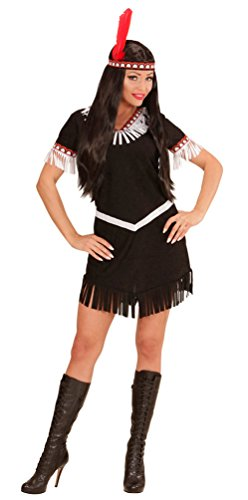 Karneval Klamotten Indianer-in Kostüm Damen Indianerin Kostüme schwarz-weiß Damenkostüm Kleid, Gürtel inkl. Stirnband Größe (Kostüm Baby Pocahontas)