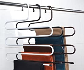 ShopAIS Iron stainless steel s multi-layered pants rack pants hanger rack multifunction S-type magic pants rack lengthened (Assorted Color)