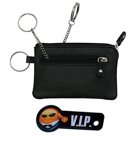 Schlüsseltascheund Schlüsselfinder aus echtem Leder mit 2 Fächern und 3 Ringen, Schlüsseletui, inkl. Schnellzugriff auf Autoschlüssel (Schwarz) (Leder Reißverschluss Zwei)