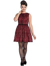 Hell Bunny 50s Mini Skater Dress Woodland Trees SHERWOOD Black Red All Sizes