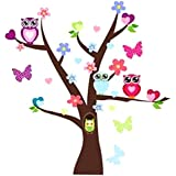 Restly(TM) Colored Cartoon Owl Tree Wall Stickers Children's Room