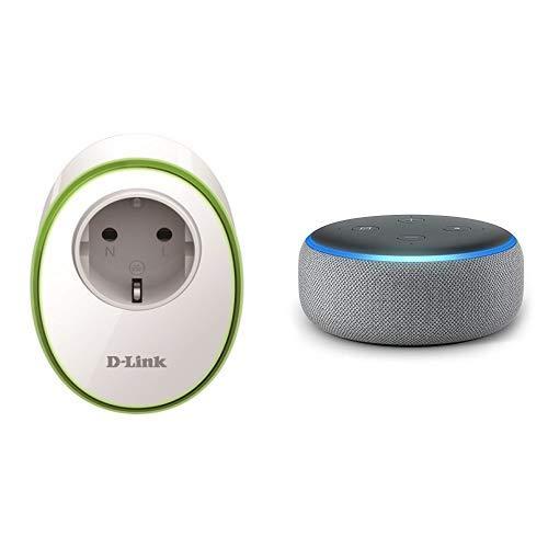 Echo Dot tessuto grigio scuro + D-Link DSP-W115 Presa Intelligente con Interruttore senza Fili per Gestione Luci e Dispositivi Elettronici