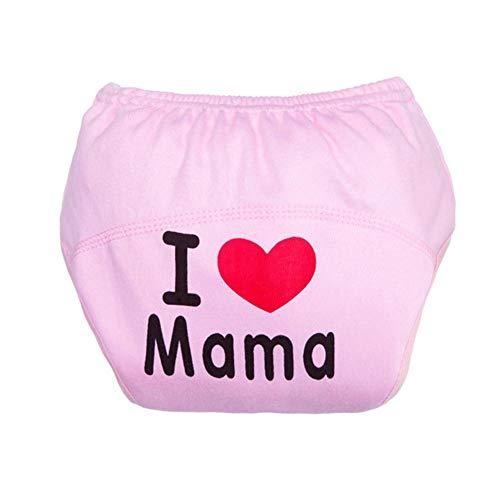 sous-vêtements Lavable Mignon Bébé Couche Bébé en Coton Solide Briefs Garçons Filles Culottes(Pink, Letters)