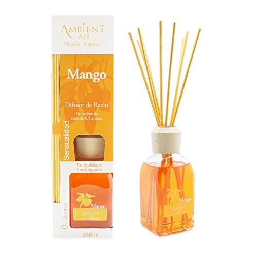 Ambientair Mikado Ambientador para Hogar, Aroma Mango, Cristal, Naranja, 8 x 8 x 30 cm