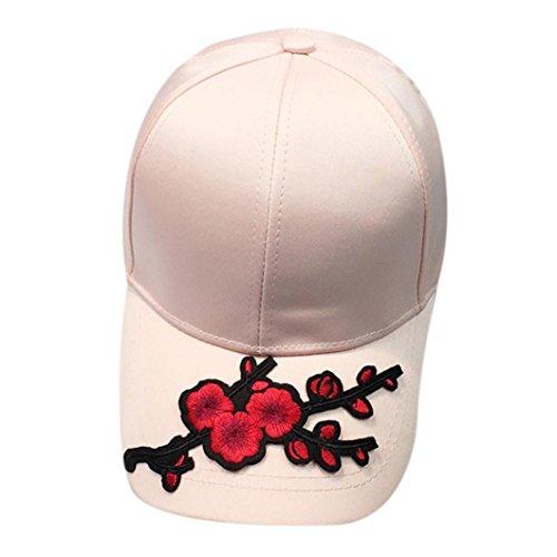 unsex Baseball Cap Ronamick Frauen Männer Baseball Cap Paar Applique Floral Baseball Cap Unisex Basecap Snapback Hip Hop Kappe Flachen Hut (Rosa)
