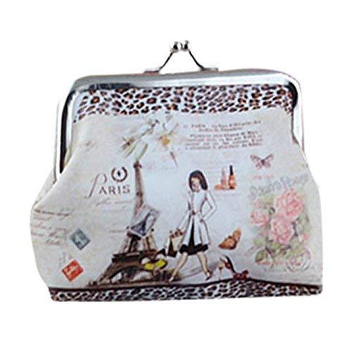VADFLOD gedruckte Geldbörse Vintage Pouch Kiss Lock Frame Clutch Bag Geldbörse Brieftaschen für Frauen Mädchen -