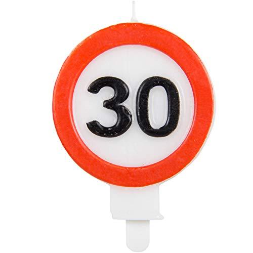 Party Collection - Vela de cumpleaños (30 Unidades, 6 x 8,5 cm), diseño de señal de tráfico