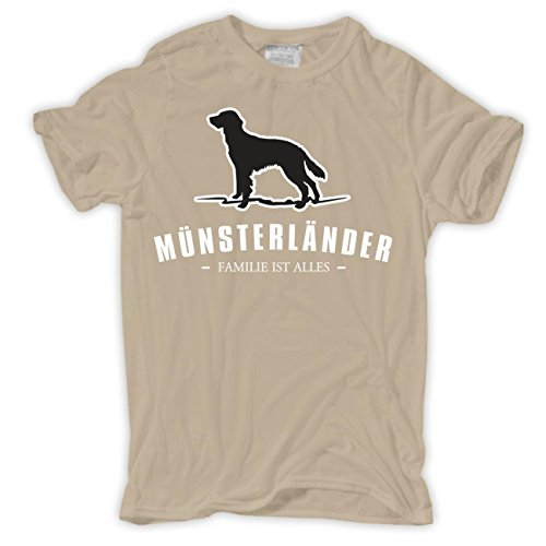 Männer und Herren T-Shirt Münsterländer - Familie ist alles Größe S - 8XL Sand