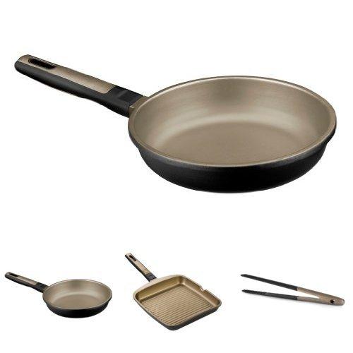 BRA Terra - Lote 2 sartenes, 20 cm y 24 cm + Grill rayas, 28 cm + BRA Air - Pinzas