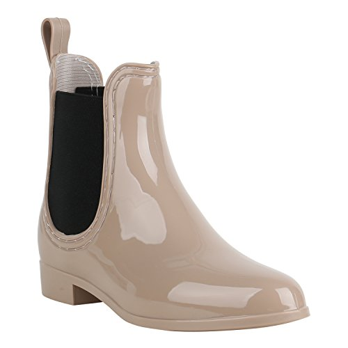 Damen Schuhe Stiefeletten Gummistiefel Lack Regenschuhe Chelseas 156881 Beige Schwarz 40 Flandell