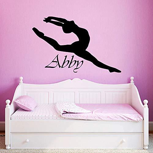Wandtattoo Kinderzimmer Nennen Sie kundenspezifische personalisierte Mädchen-Namen-Ballerina-Ballett-Tänzer-Gymnastik-Mädchen-Raumwohnzimmertanzraum (Kinder-spielzimmer Decals)